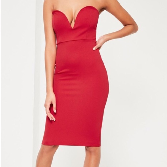 Missguided red scuba plunge bandeau midi dress ceea50995